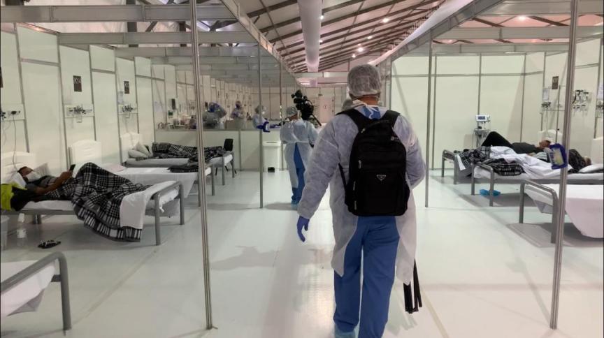 Ala interna do Hospital Municipal de Campanha do Pacaembu, já desativado