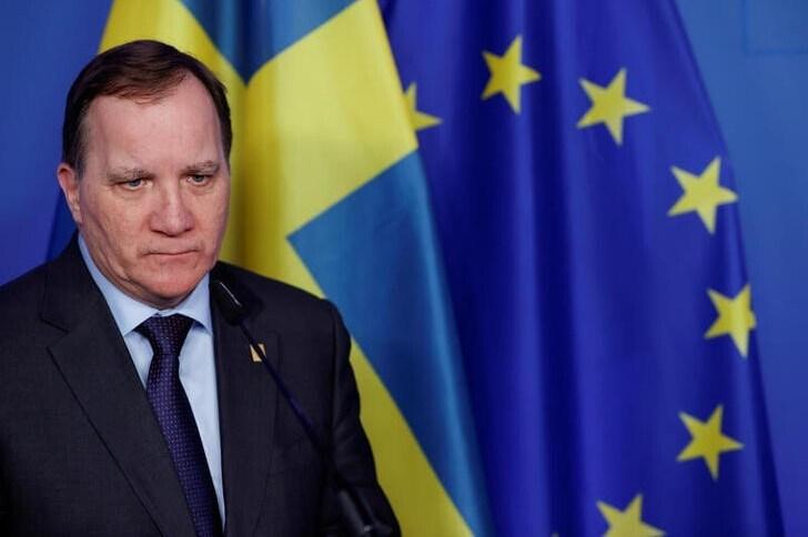 Primeiro-ministro da Suécia, Stefan Lofven, em uma conferência da União Europeia