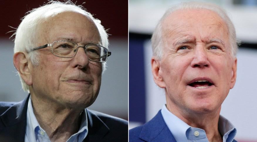 Os candidatos democratas Bernie Sanders e Joe Biden
