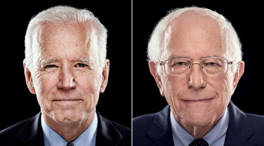 Os democratas Joe Biden (esquerda) e Bernie Sanders disputam a indicação do partido para enfrentar Donald Trump nas eleições dos EUA, em novembro