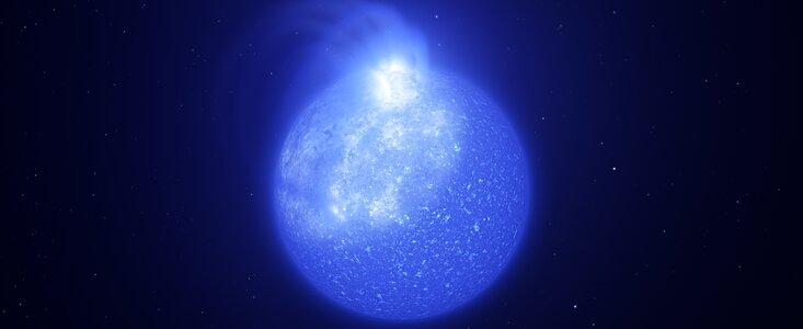 Representação artística de manchas magnéticas gigantes na superfície de uma estrela