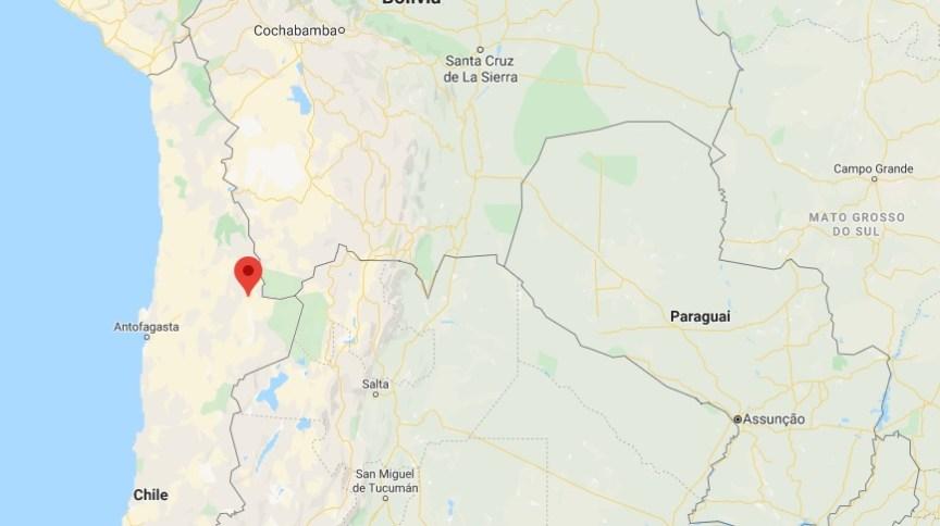 O epicentro do terremoto foi localizado a 48 km ao sudoeste de San Pedro de Atacama