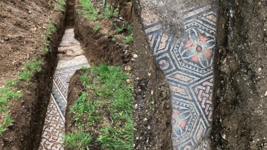 O piso quase intocado foi encontrado por arqueólogos no norte da Itália; ele fazia parte de uma vila da Roma antiga encontrada há mais de um século