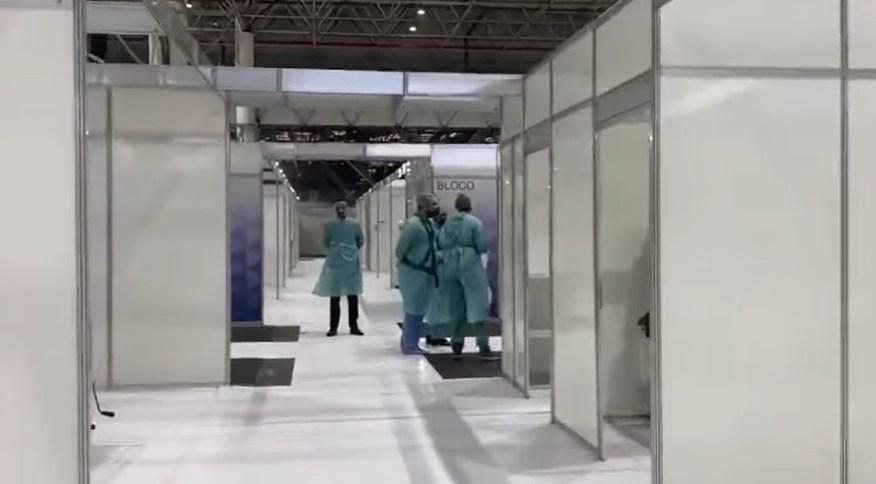 Deputados divulgaram imagens de dentro do Hospital de Campanha do Anhembi