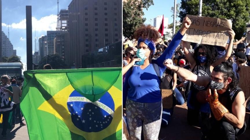 Manifestação pró-Bolsonaro (à esq.) e contra o presidente (à dir.) em São Paulo neste domingo (7)