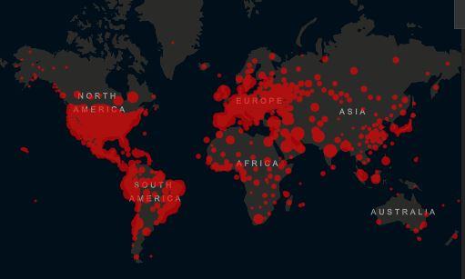 Mapa da Universidade Johns Hopkins apresenta casos de coronavírus no mundo em 8 de junho
