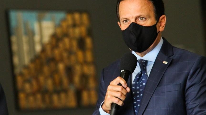 Governador de São Paulo, João Doria, durante coletiva de imprensa sobre coronavírus
