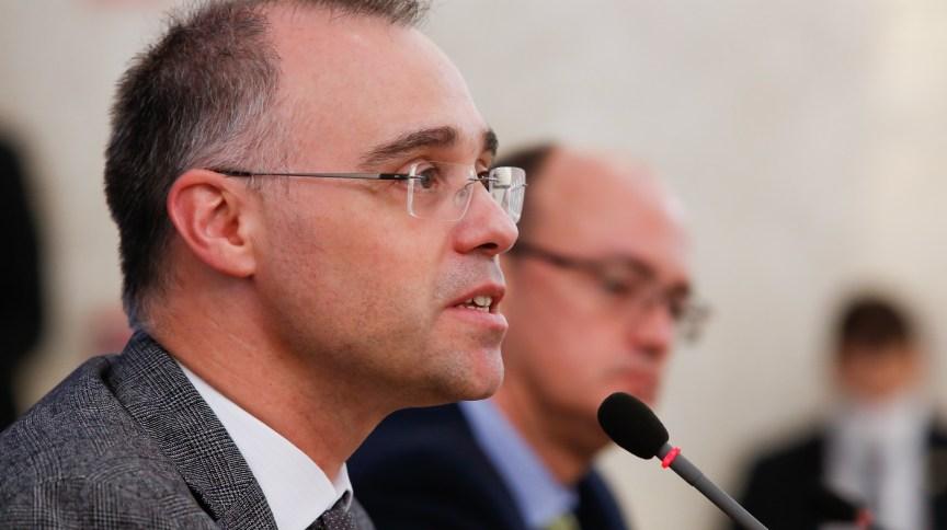 O ministro da Justiça e Segurança Pública, André Mendonça, durante entrevista coletiva em Brasília