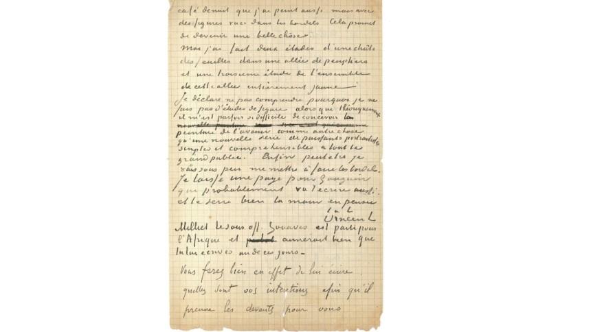 Carta escrita por Van Gogh para Paul Gauguin foi arrematada em leilão