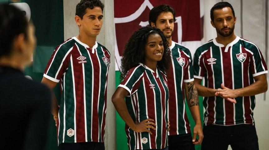 Ganso, Luanny, Hudson e Nenê durante Making Of para o lançamento do uniforme do Fluminense