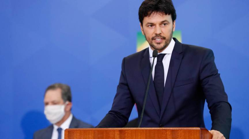 O ministro das Comunicações, Fábio Faria, em sua cerimônia de posse