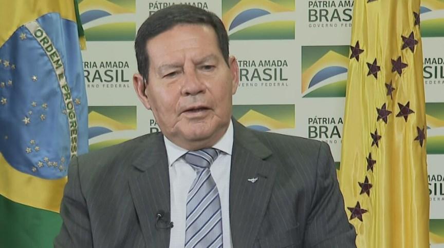 O vice-presidente Hamilton Mourão (PRTB) fala à CNN
