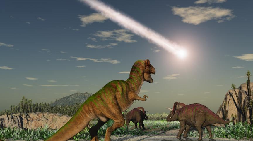O ataque de asteroides teria liberado partículas e gases para a atmosfera, bloqueando o Sol por anos e causando invernos extremamente frios que impossibilitavam a sobrevivência dos dinossauros