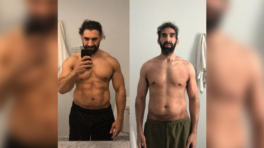 Ahmad Ayyad é um sobrevivente do novo coronavírus. Os médicos o colocaram em coma induzido por 25 dias para salvar sua vida. Esta foto mostra Ayyad antes (à esquerda) e depois (à direita) do diagnóstico de Covid-19.