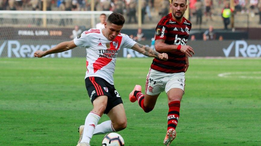 Lance da partida entre Flamengo e River Plate na final da Copa Libertadores de 2019