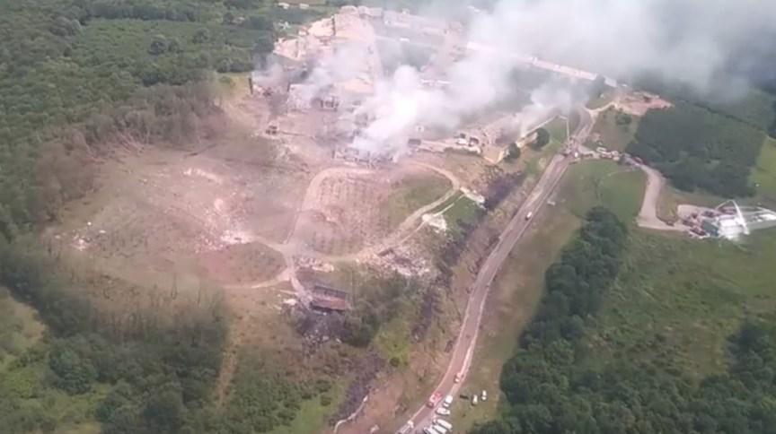 Vista aérea da região onde fábrica registrou uma grande explosão