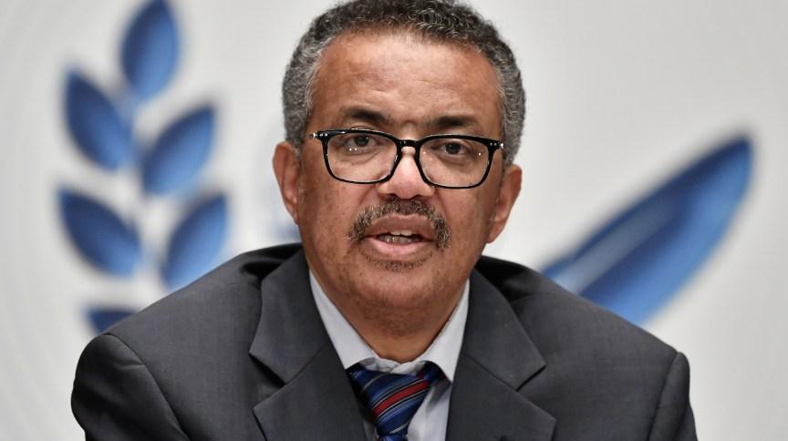 O diretor-geral da Organização Mundial da Saúde, Tedros Adhanom Ghebreyesus, participa de uma entrevista coletiva em Genebra