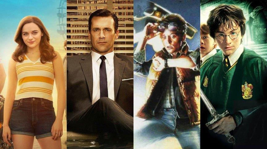 Da esquerda para a direita, imagens de A Barraca do Beijo 2, Mad Men, De Volta Para o Futuro e Harry Potter e a Câmara Secreta