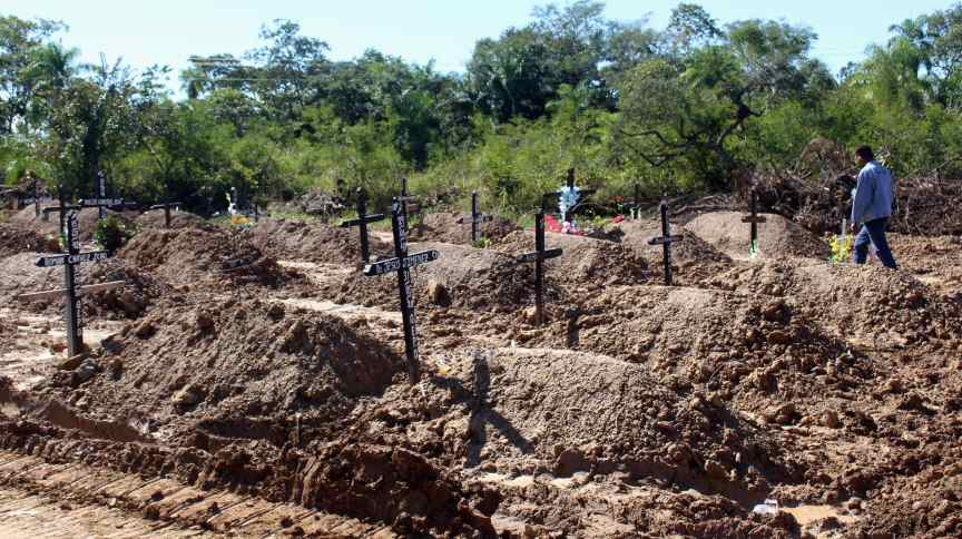 Cemitério para vítimas do coronavírus em Trinidad, Bolívia (07/06/2020)