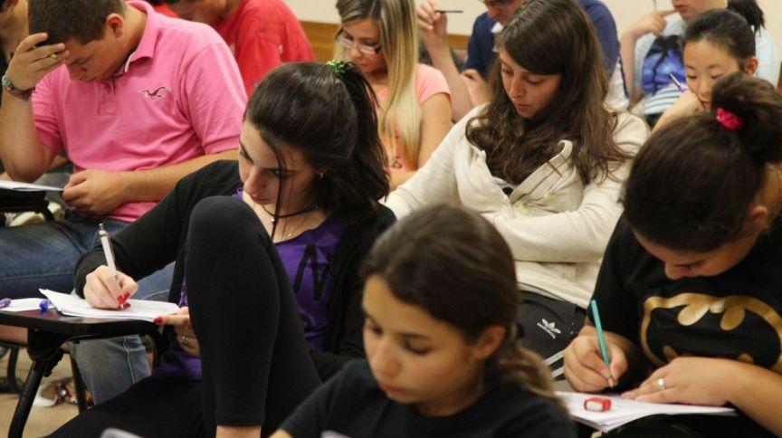 Estudantes durante a prova do vestibular da Fuvest