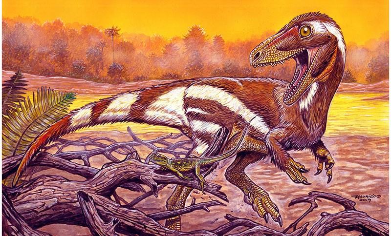 Concepção artística do Aratasaurus museunacionali, dinossauro descoberto no Ceará