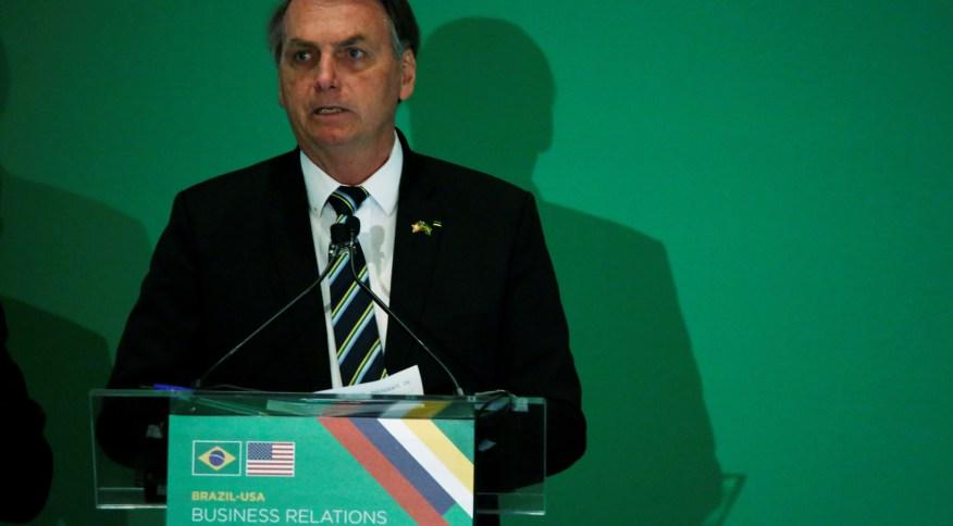 Presidente Jair Bolsonaro discursa a empresários em Miami