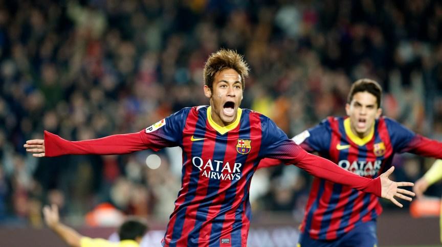 Neymar comemora gol contra o Villareal em partida do Campeonato Espanhol de 2013