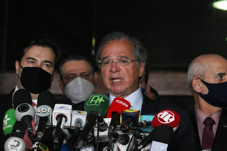 Ministro da Economia, Paulo Guedes, durante coletiva da reforma tributária