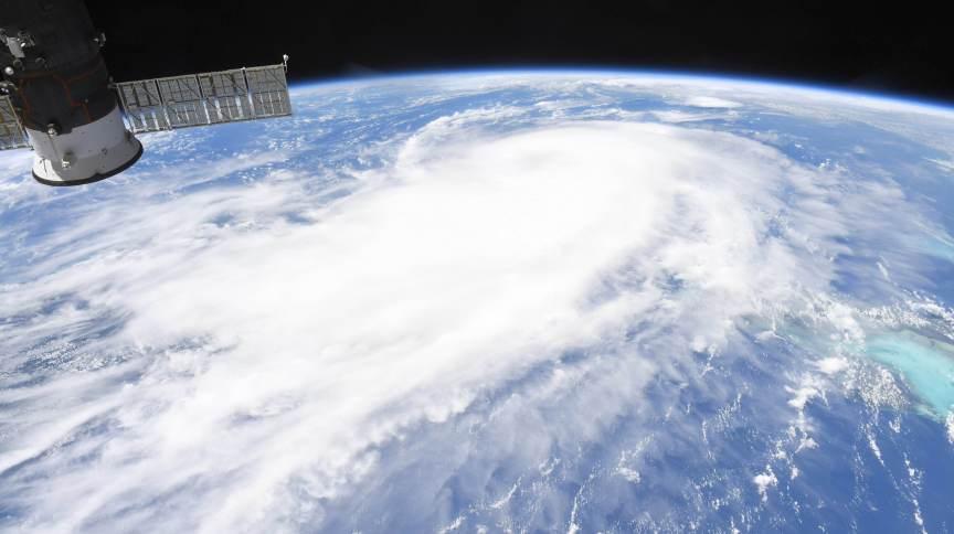 Imagem de satélite da Nasa da passagem do furacão Laura