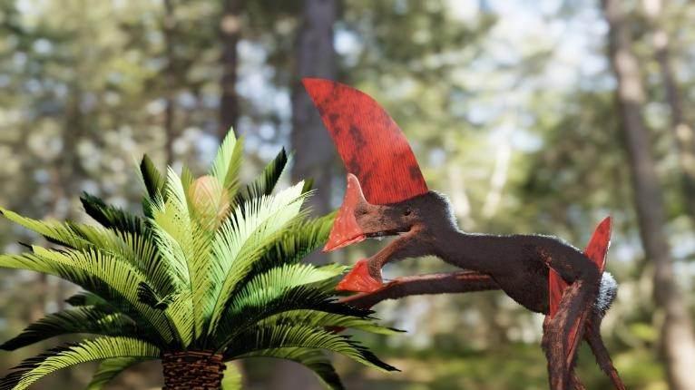 Representação artística do Tupandactylus navigans no Cretáceo Inferior, no que hoje é o Nordeste do Brasil