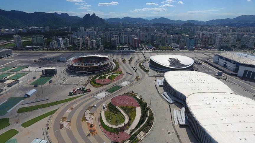 Vista geral aérea do Parque Olímpico da Barra da Tijuca na zona oeste do Rio de Janeiro