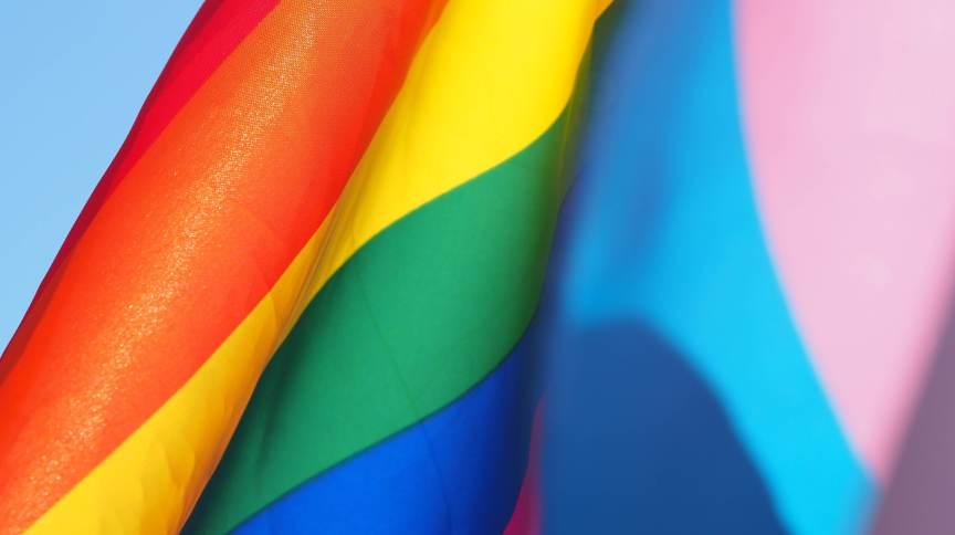 Bandeira LGBT ao lado da bandeira da visibilidade trans