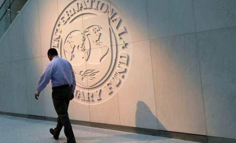 Logo do Fundo Monetário Internacional (FMI) na sede da instituição, em Washington (10.MAI.2018)