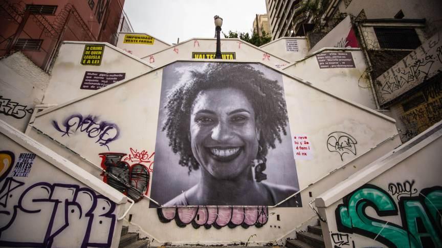 Homenagem à vereadora Marielle Franco no bairro de Pinheiros, em São Paulo