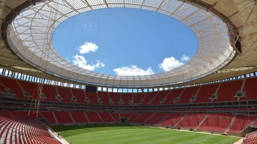 Estádio Nacional de Brasília Mané Garrincha, reinaugurado em 2013 para a Copa do Mundo do ano seguinte