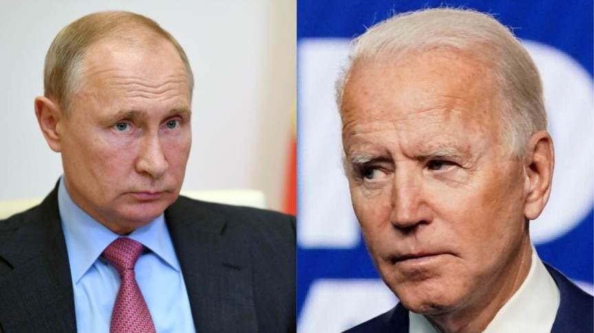 Vladimir Putin (à esquerda) e Joe Biden (à direita)