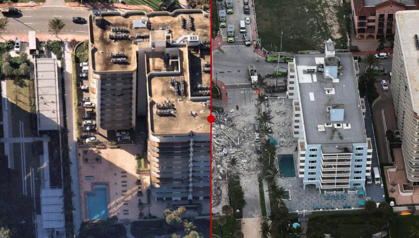 Antes e depois de prédio que desabou na Flórida, nos EUA
