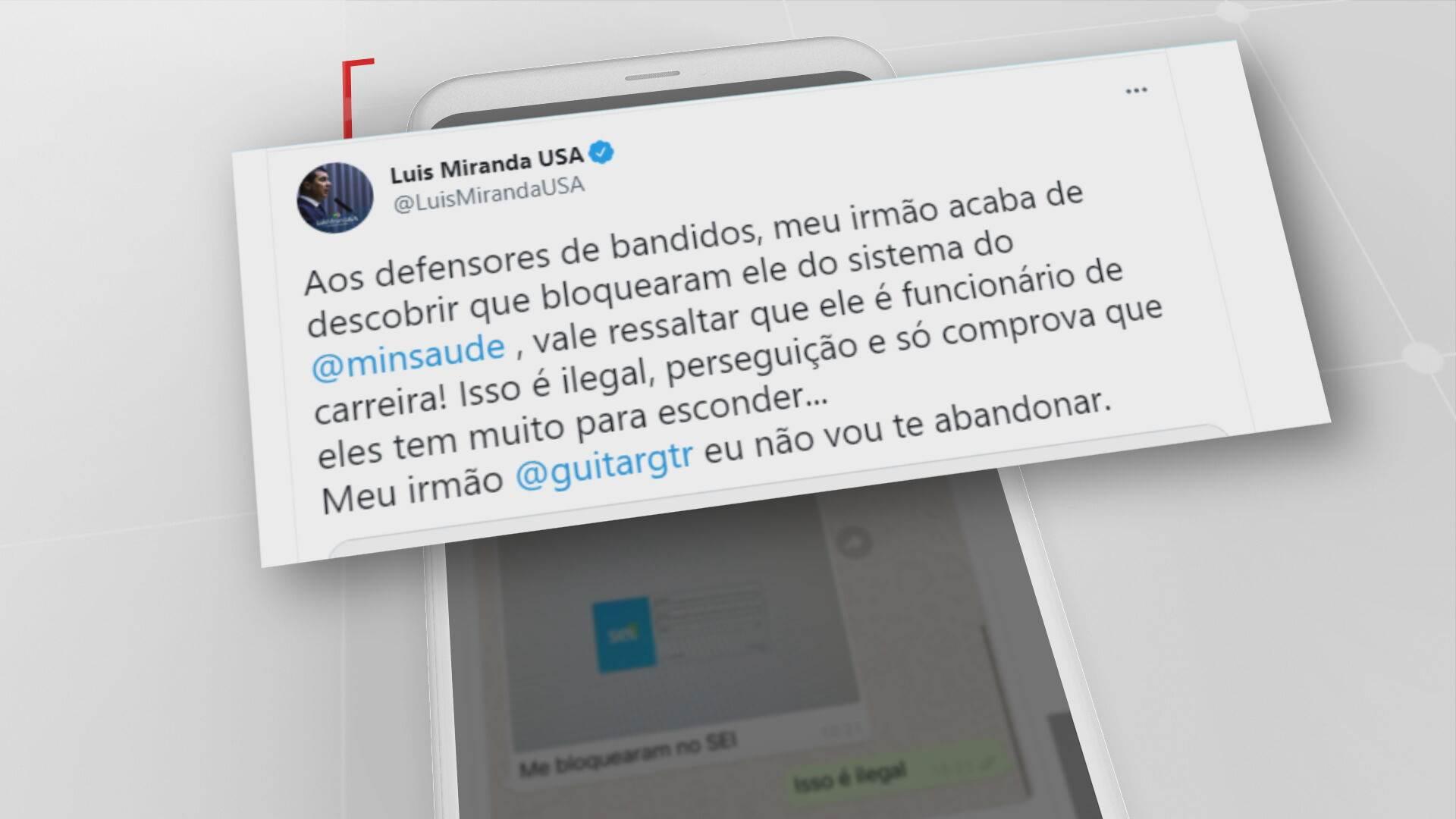 Tweet do Deputado Federal Luis Miranda (DEM)
