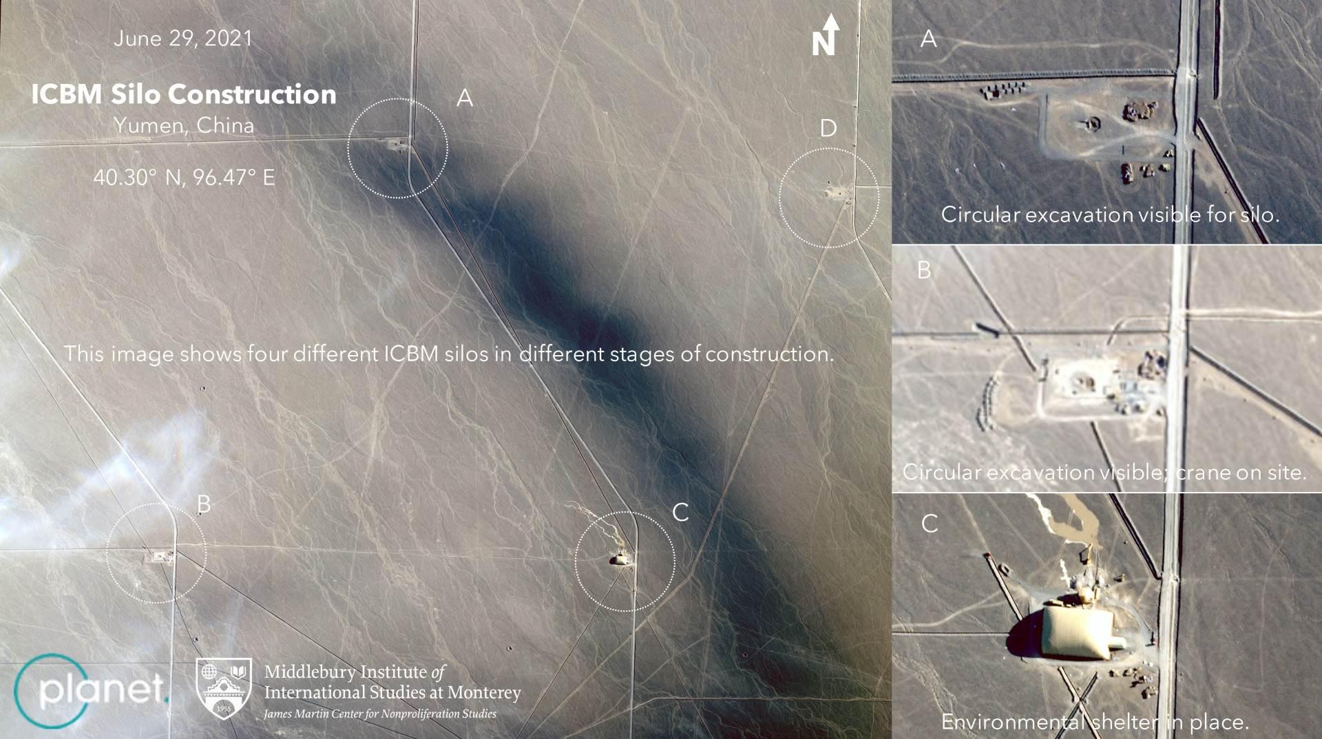 Imagens de satélite mostram silos de mísseis chineses em vários estágios