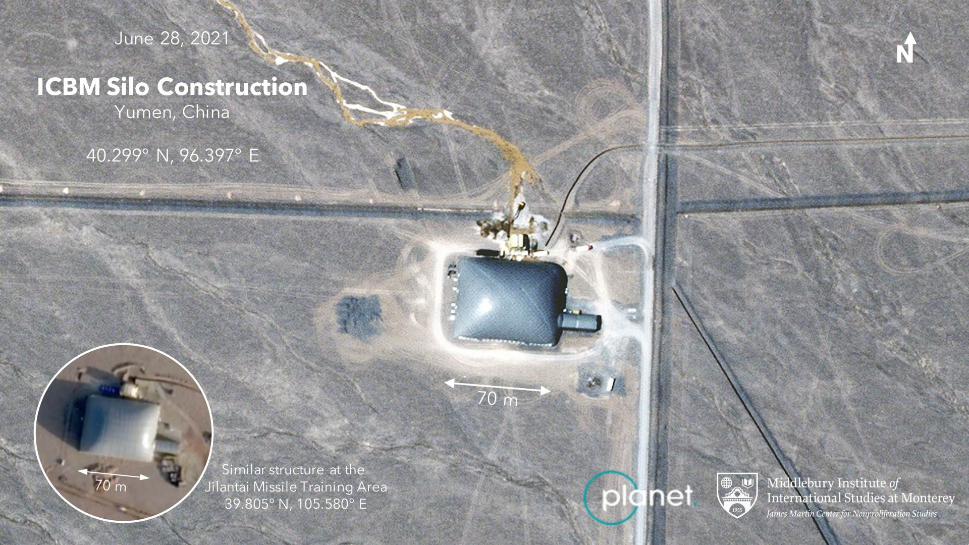 Imagem detalhada de um silo de míssil chinês com uma cúpula no topo