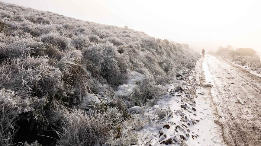 Neve em Urupema, em Santa Catarina, onde termômetros chegaram a -7,5ºC