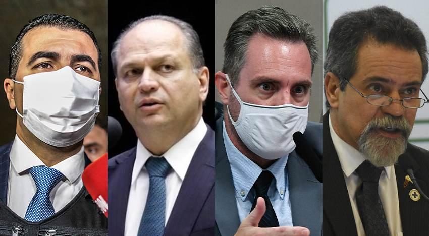 O deputado Luis Miranda (DEM-DF); o deputado Ricardo Barros (PP-PR); o policial militar Luiz Paulo Dominghetti; e o secretário-executivo do Ministério da Saúde Élcio Franco: alguns dos envolvidos nas acusações sobre compras irregulares de vacina