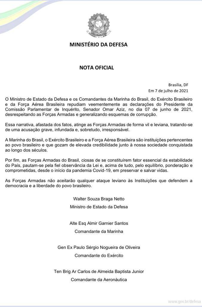 Nota do Ministério da Defesa