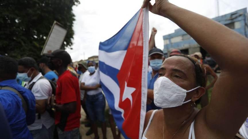 Apoiadores do governo cubano em protesto