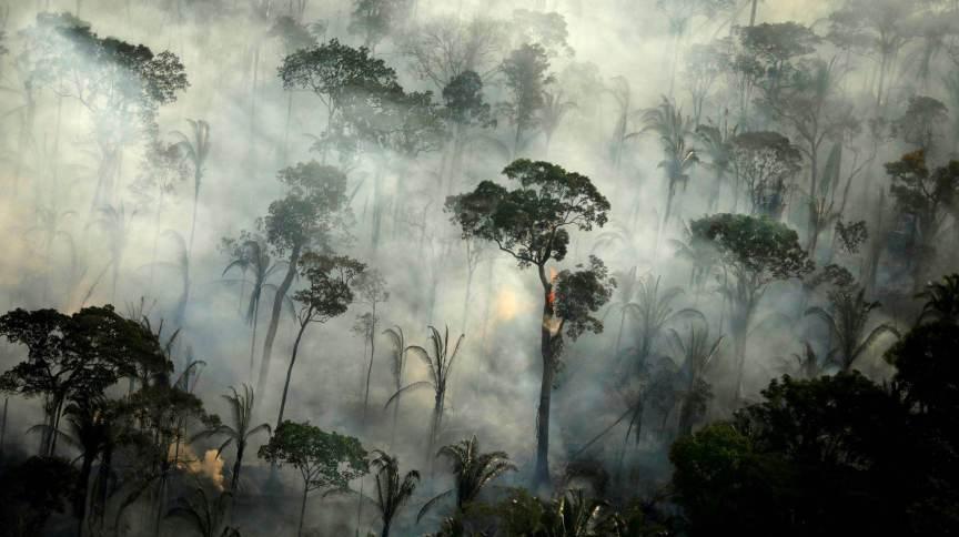 Fumaça de incêndio na Floresta Amazônica perto de Porto Velho (10.set.2019)