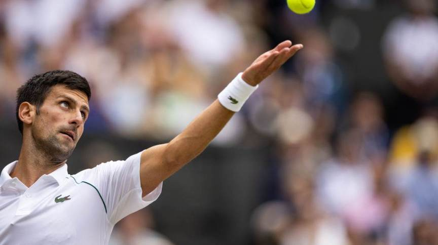 Novak Djokovic na final do Torneio de Wimbledon, do qual saiu campeão