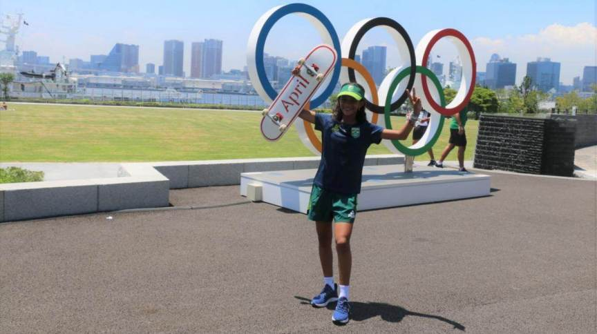 Skatista Rayssa Leal, atleta mais jovem a representar o Brasil em Tóquio, é uma das esperanças de medalha do país
