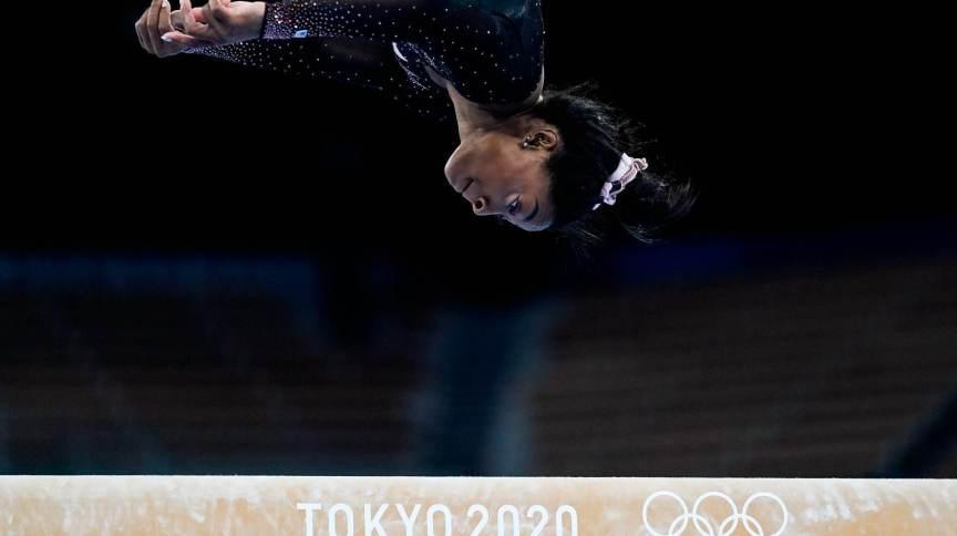 A campeã olímpica Simone Biles tem enfrentado um bloqueio durante sua participação nos Jogos