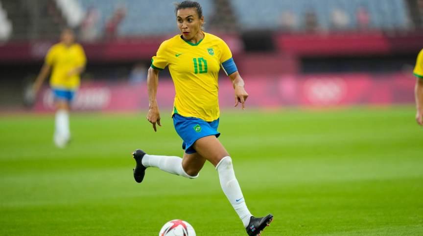 Marta, jogadora da seleção feminina do Brasil, nas Olimpíadas 2020