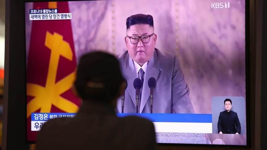 Kim Jong-un em transmissão na TV